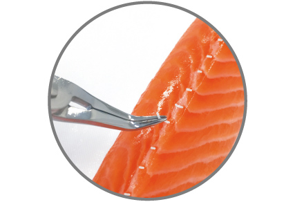 The specially designed curved tip pushes down the flesh and makes it easy to remove the bones leaving the fish intact.