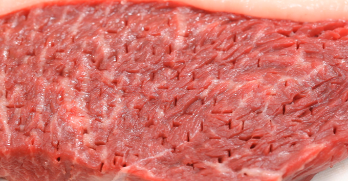 "The Blades are arranged in an ""X"" shape, which enables you to ""crisscross"" holes across the meat that cut through tough connective tissues."